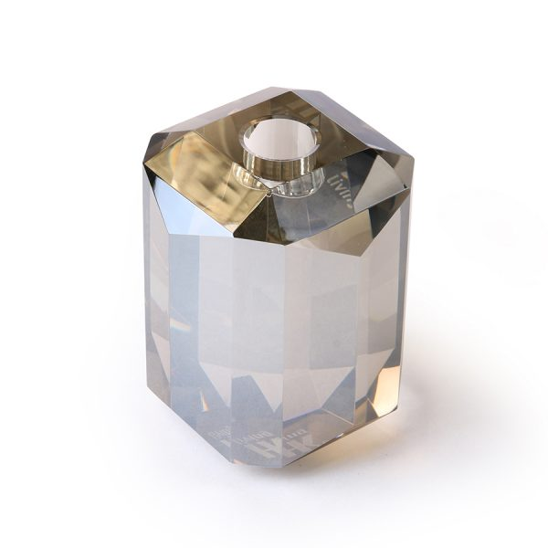 crystal glass candle holder grey diamond-0