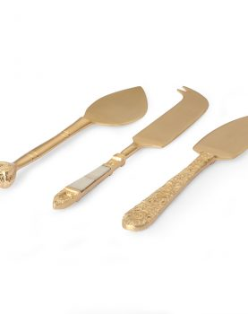 HKliving cheese knives gold set of 3-28376