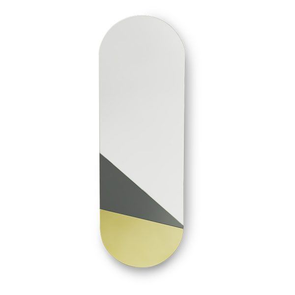 oval mirror L gold/grey-0