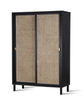 HKliving webbing sliding door cabinet black-28546