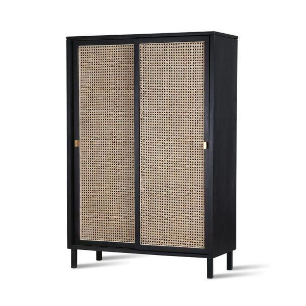HKliving webbing sliding door cabinet black-28546