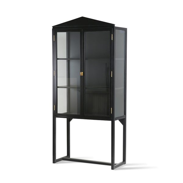 crested cabinet showcase black wood-28556