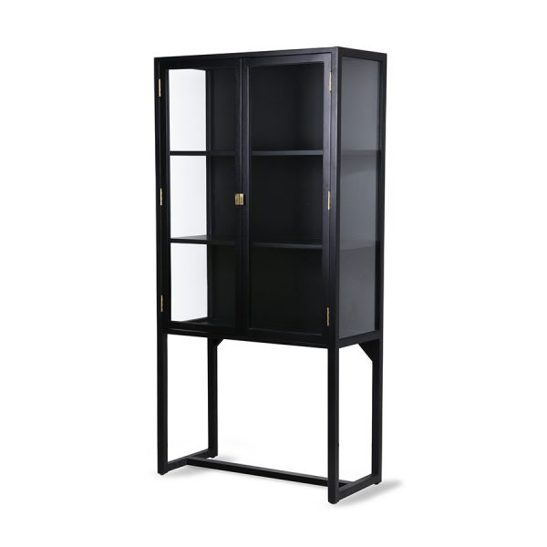 crested cabinet showcase black wood-28557