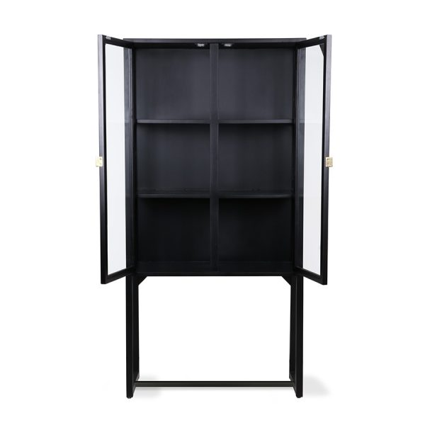 crested cabinet showcase black wood-28558