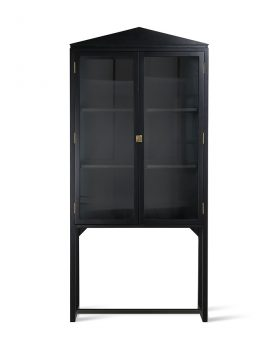crested cabinet showcase black wood-0