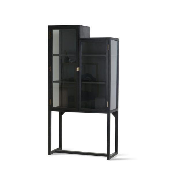 Hkliving stairs cabinet showcase black wood-28561