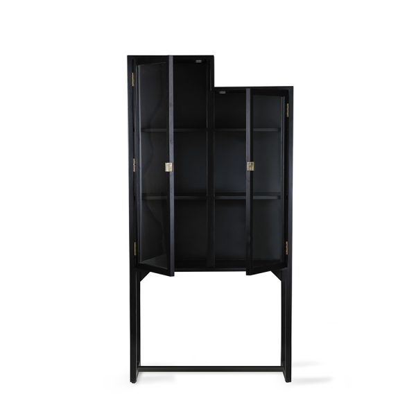 Hkliving stairs cabinet showcase black wood-28562