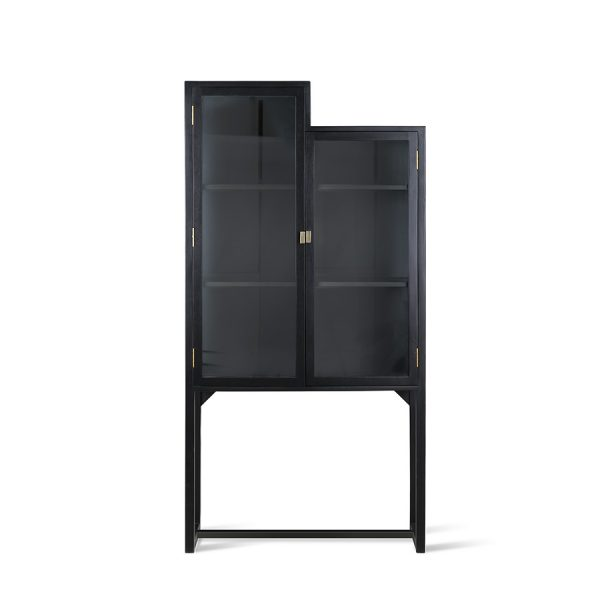 Hkliving stairs cabinet showcase black wood-0