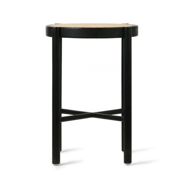 HK living retro webbing stool black-28574