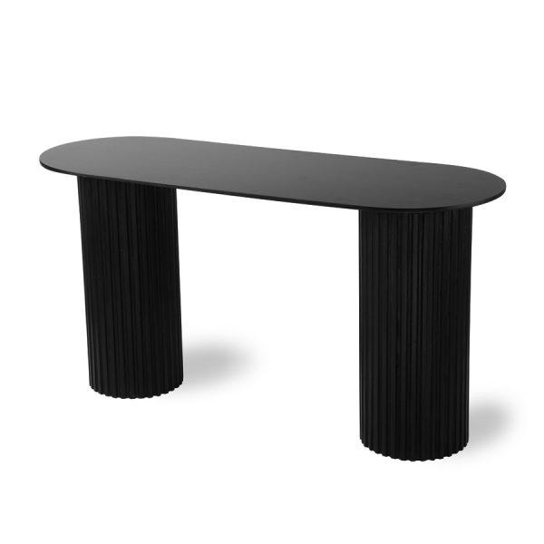 HK living pillar side table oval black-28622