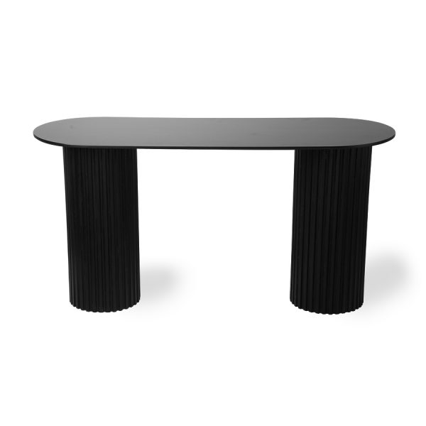 HK living pillar side table oval black-28623