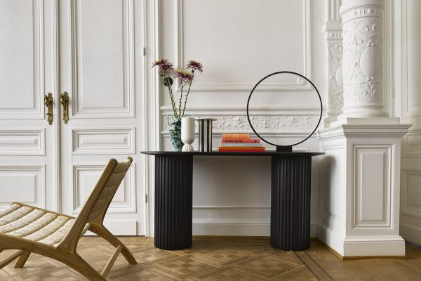 HK living pillar side table oval black-28624