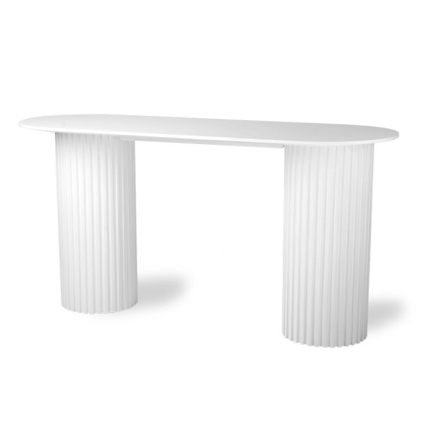 HKliving pillar side table oval white-28627