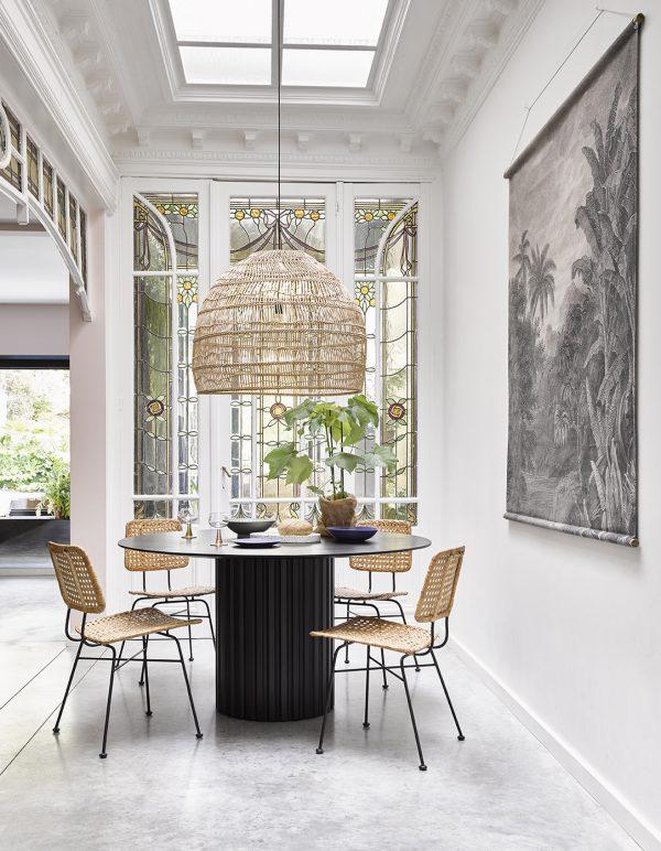 pillar dining table round black-28639