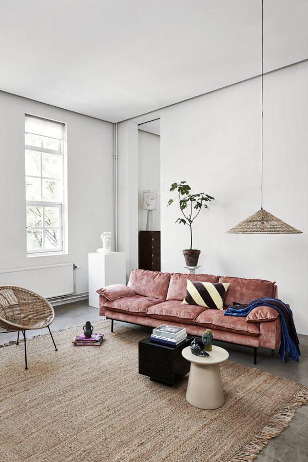 HKliving retro sofa: 3-seats, vintage velvet, old pink-28659