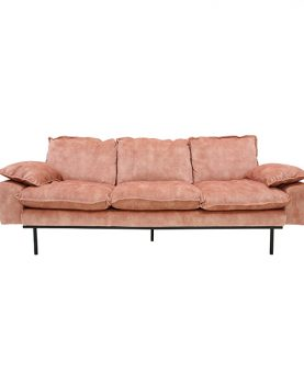 HKliving retro sofa: 3-seats, vintage velvet, old pink-0