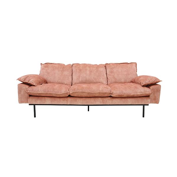HKliving retro sofa: 3-seats, vintage velvet, old pink-0