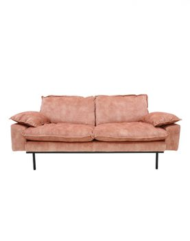retro sofa: 2-seats, vintage velvet, old pink-0
