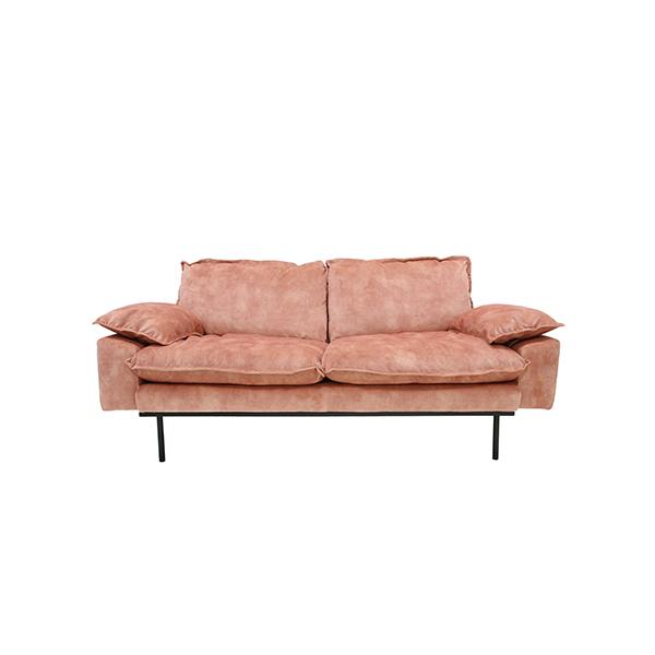 retro sofa: 2-seats, vintage velvet, old pink-0