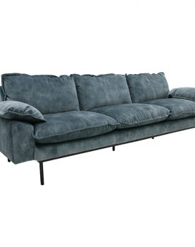 HKliving retro sofa: 4-seats, vintage velvet, petrol blue-28663