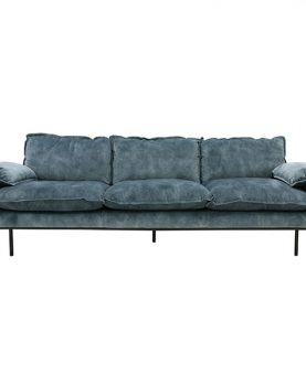 HKliving retro sofa: 4-seats, vintage velvet, petrol blue-0
