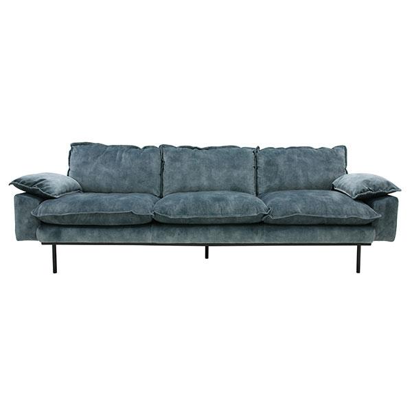 HKliving retro sofa: 4-seats, vintage velvet, petrol blue-0