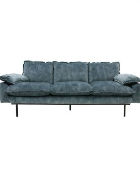HKliving retro sofa: 3-seats, vintage velvet, petrol blue-0