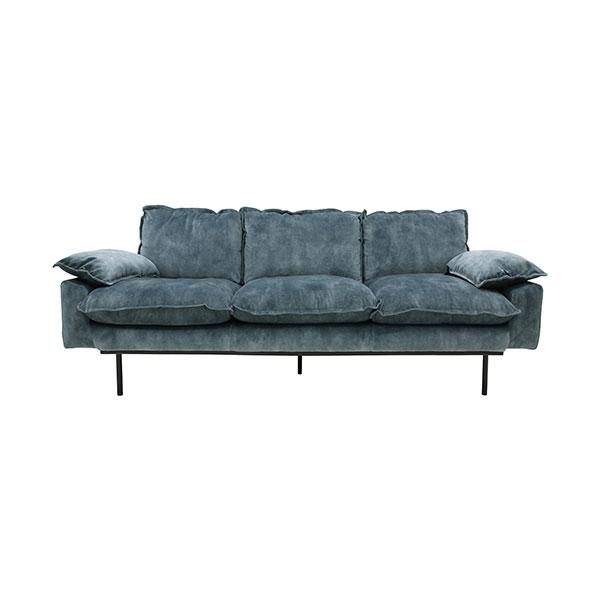 HKliving retro sofa: 3-seats, vintage velvet, petrol blue-0