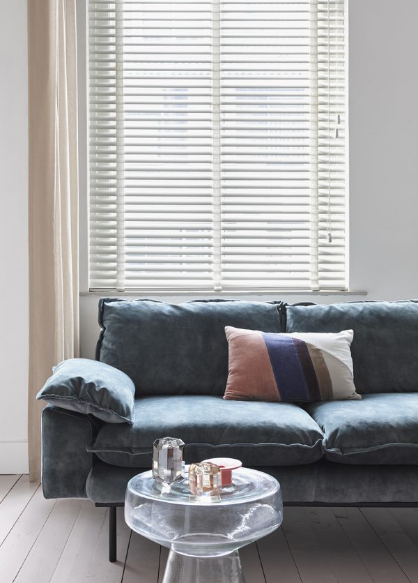 retro sofa: 2-seats, vintage velvet, petrol blue-28669