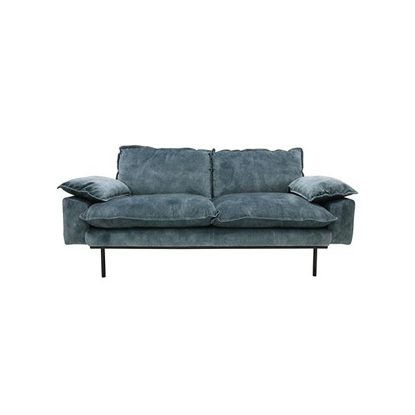 retro sofa: 2-seats, vintage velvet, petrol blue-0