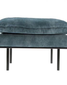 retro sofa: hocker, vintage velvet, petrol blue-0