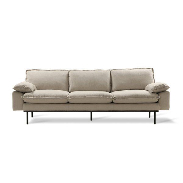retro sofa: 4-seats, cosy, beige-0