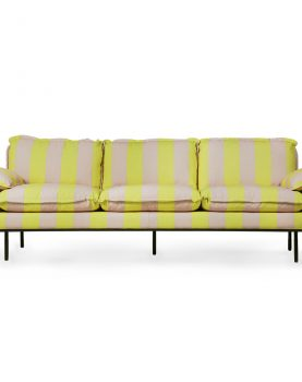 retro sofa: 4-seats, striped yellow/nude-0
