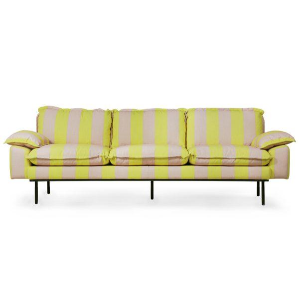retro sofa: 4-seats, striped yellow/nude-0