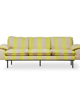 retro sofa: 3-seats striped yellow/nude-0