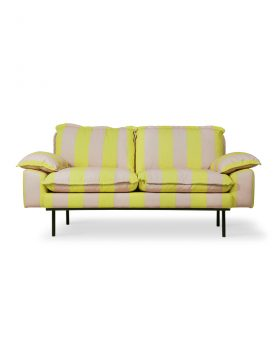 retro sofa: 2-seats striped yellow/nude-0