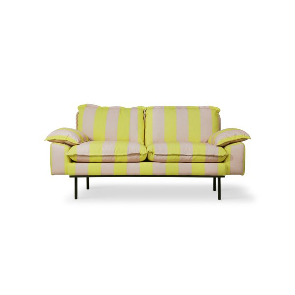 retro sofa: 2-seats striped yellow/nude-0