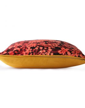 printed floral cushion coral/black (50x50)-28837