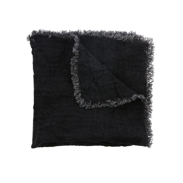 linnen napkin charcoal fringes set of 2 (45x45)-0