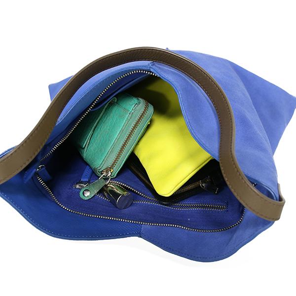 HKliving leather bag electric blue-28852
