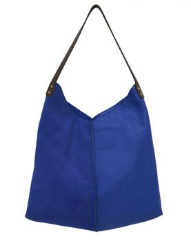 HKliving leather bag electric blue-0
