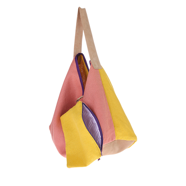 HKliving linen/suede bag yellow-28873