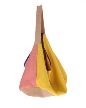 HKliving linen/suede bag yellow-0