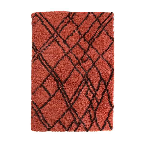 woolen berber rug funky red (120x180)-0