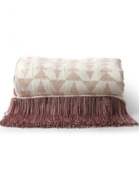 jacquard weave throw white/nude (130x170)-0