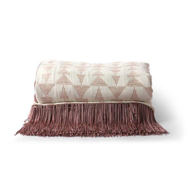 jacquard weave throw white/nude (130x170)-0