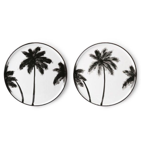hkliving-dinerbord-palmbomen-zwart-wit-ace6852