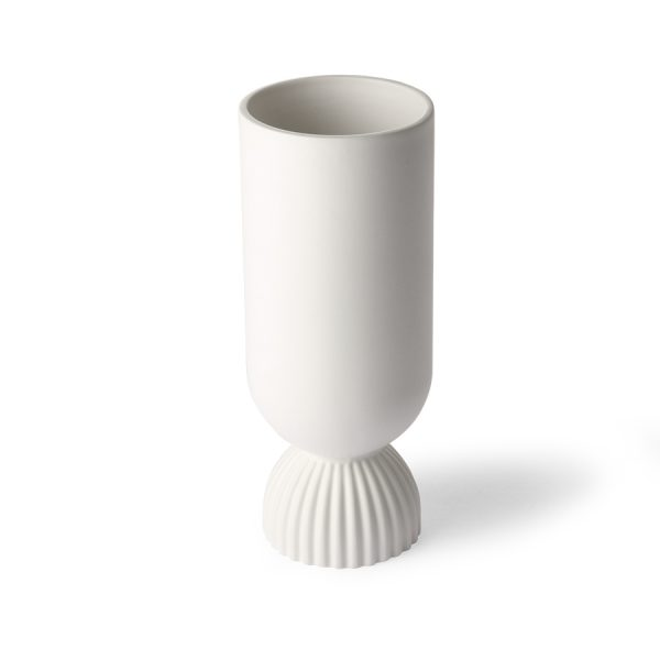 ceramic flower vase ribbed base white-29120