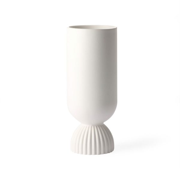 ceramic flower vase ribbed base white-0