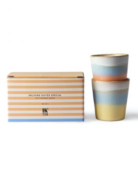 HKliving Suites Special: ceramic 70's mugs horizon set of 2-29105